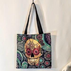 Sugar Skull Shopping Tote Market Bag NWOT